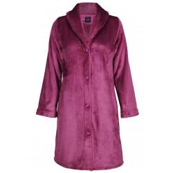 Robe de chambre boutonnée en fourrure ESSENTIEL 155 bois de rose