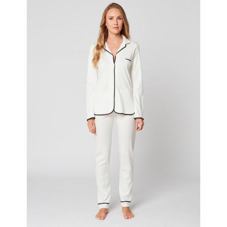 Button-down pyjamas 100% cotton ESSENTIEL H06A Ecru