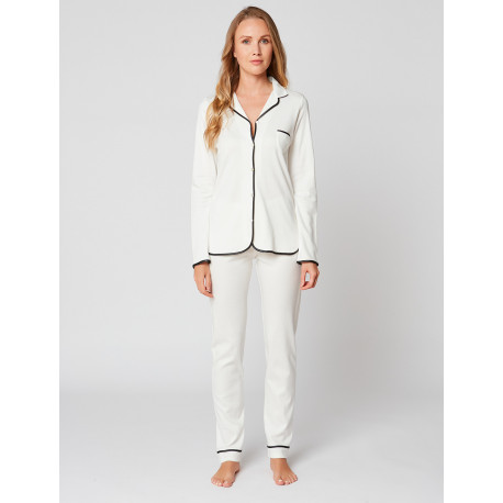 Pyjama boutonné en coton ESSENTIEL H06A Ecru