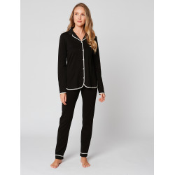 Button-down pyjamas 100% cotton ESSENTIEL H06A Noir