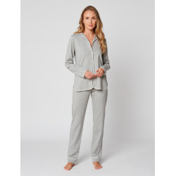 Button-down pyjamas 100% cotton ESSENTIEL H06A Gris