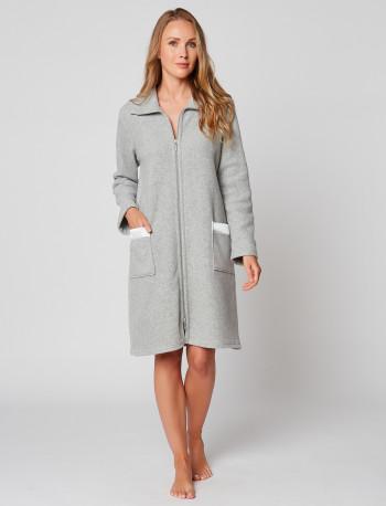 Robe de chambre zippée en polaire ESSENTIEL H54A Gris chiné