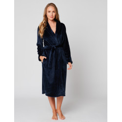 Fur wrap-over dressing gown in ESSENTIEL H60A Marine