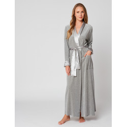 Velvet wrap-over dressing gown in ESSENTIEL H61A Gris chiné