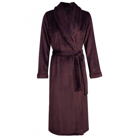 Fur wrap-over dressing gown in ESSENTIEL H60A Prune