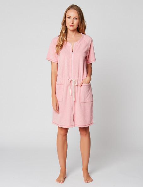 Chemise de nuit boutonnée 100% coton ESSENTIEL E05A rose pâle