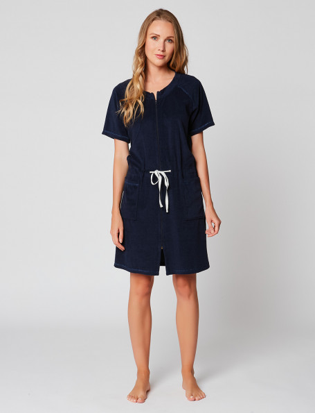 ESSENTIEL E61A terry cloth navy wrap-over dressing gown