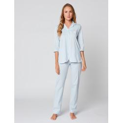 Pyjama boutonné 100% coton ESSENTIEL E06A Bleuté