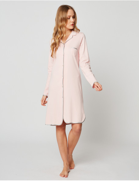 Button-down nightdress 100% cotton ESSENTIEL H05A Bois de rose