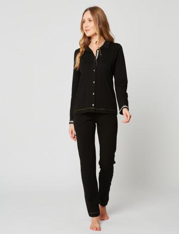 Pyjama boutonné en coton MAILLE LOVE 206 Noir