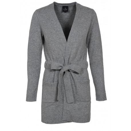 100% CASHMERE LONG CARDIGAN Felt grey